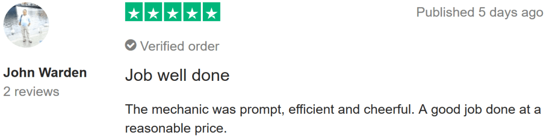 TrustPilot review of ClickMechanic
