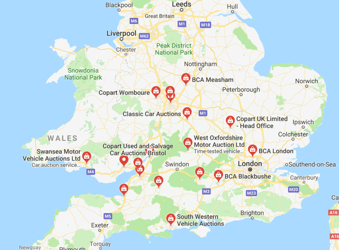 map of where to sell your car at auction in the United Kingdom