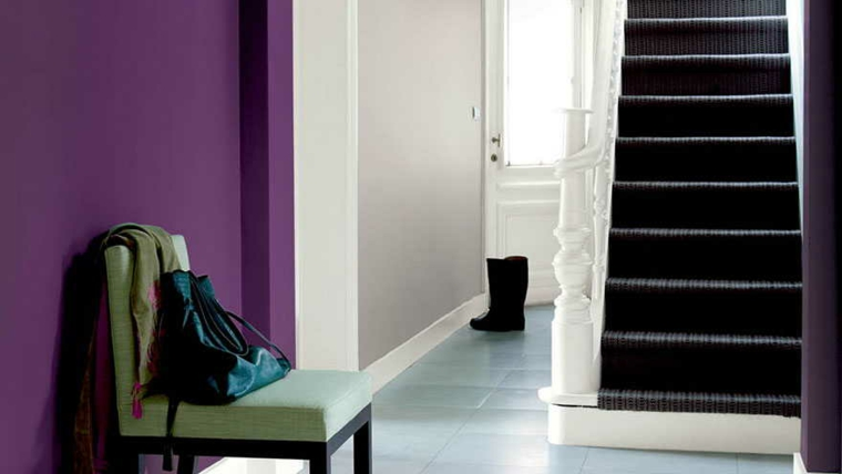 purple hallway wall