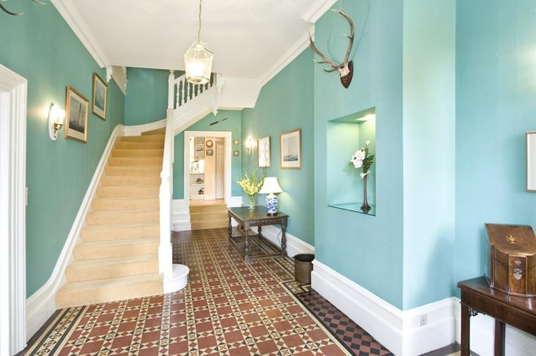 Intense turquoise hallway