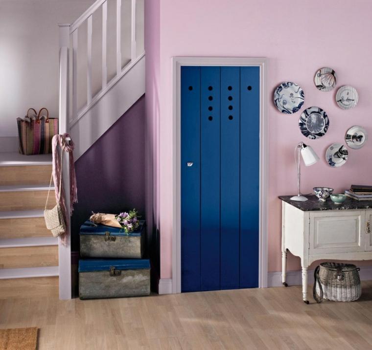 hallway color pink door blue