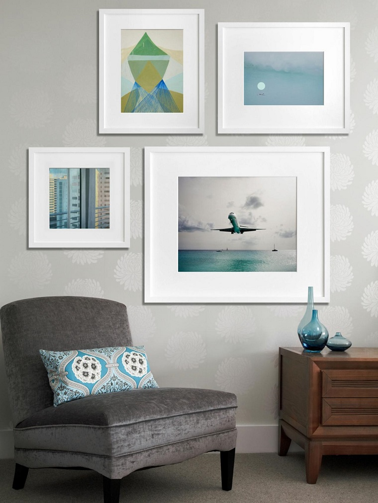 decorate with paintings different sizes ideas