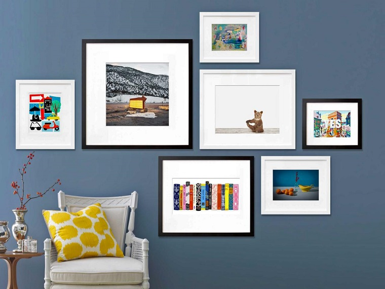 Jeanine Hays Gallery blue wall several decorative pictures ideas