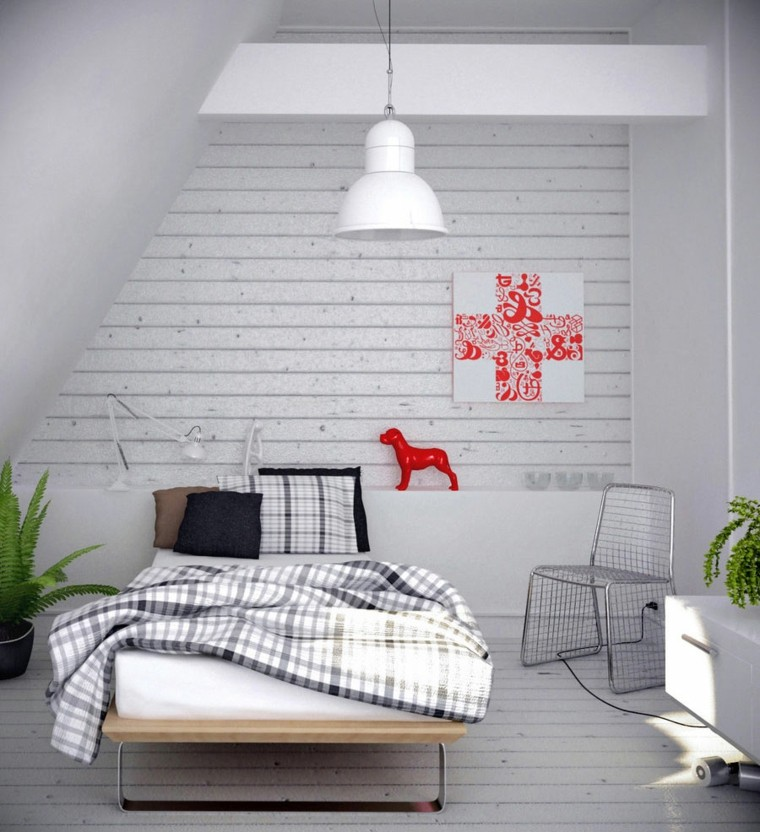 Youth bedroom laminated white wall