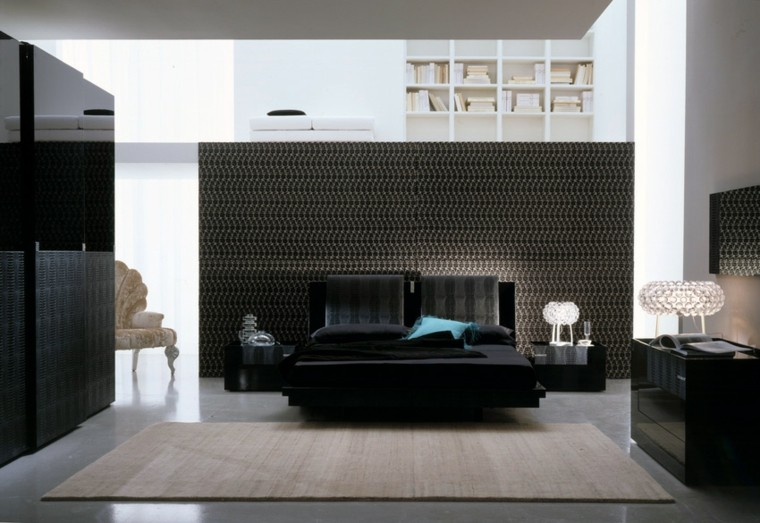 modern style bedroom black color