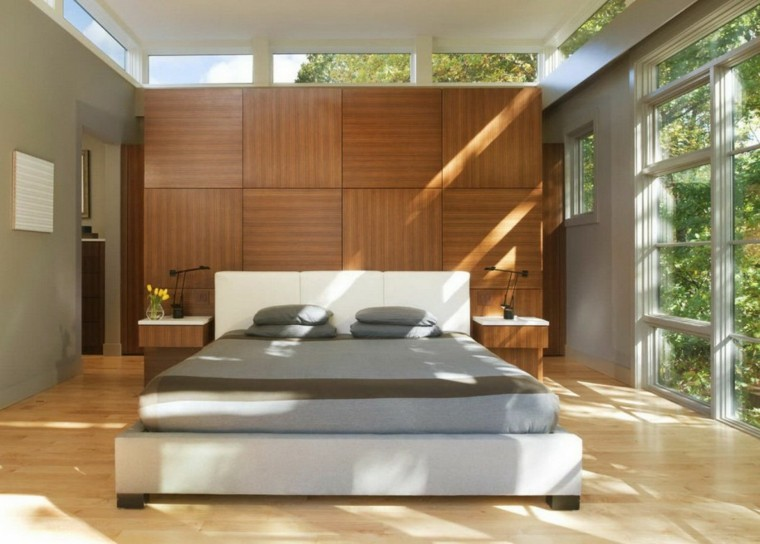 sunny bedroom wall wood headboard