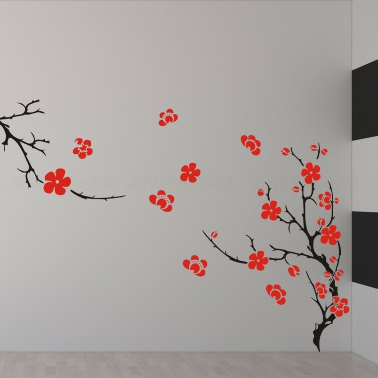 paper wall motifs red flowers