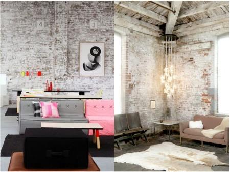 Industrial vintage decoration: walls