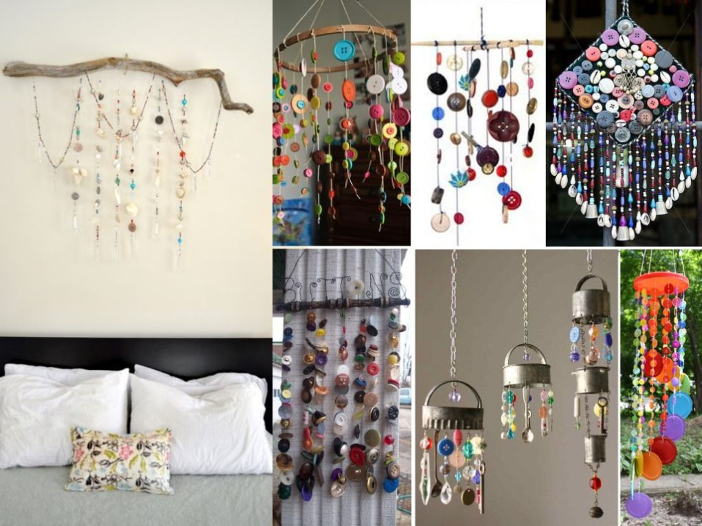 make decorative mobiles with buttons