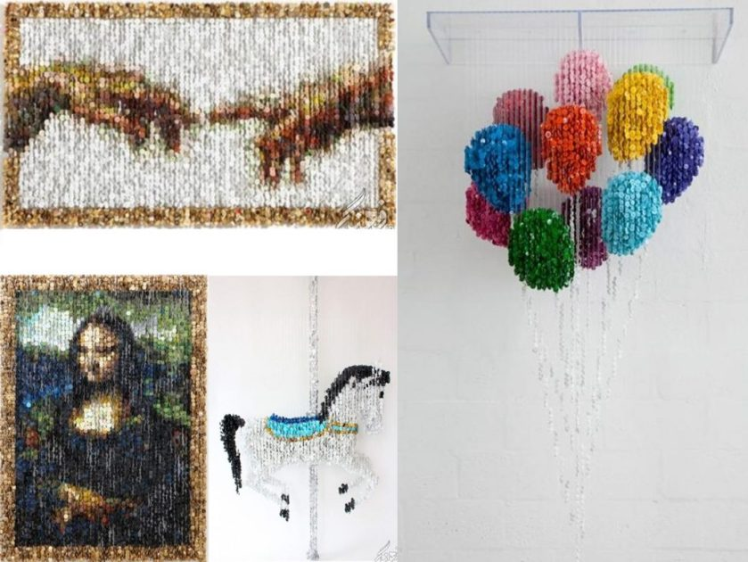 make sculptures with colored buttons