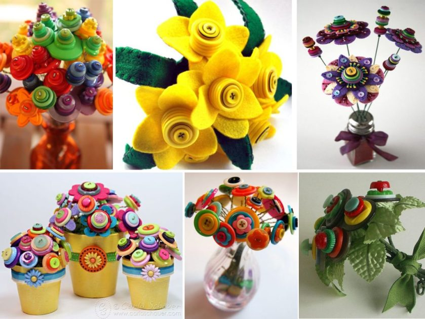 flowers with colored buttons