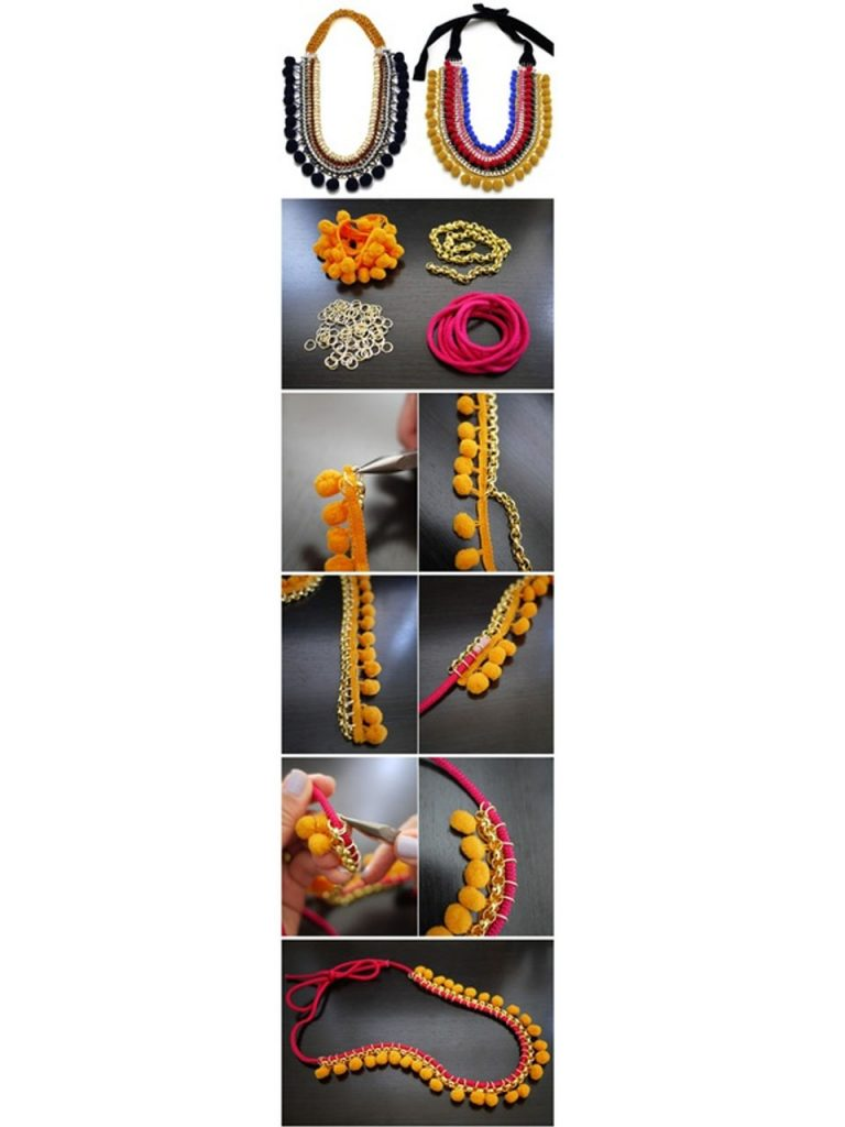 how to make a necklace with pompoms
