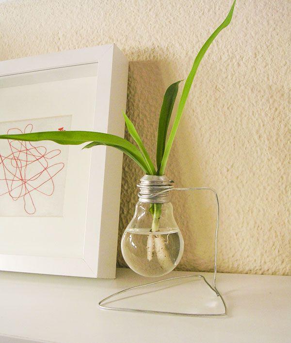 Flowerpot with a light bulb