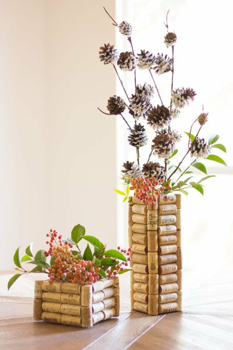 Centerpieces decorated with cork caps