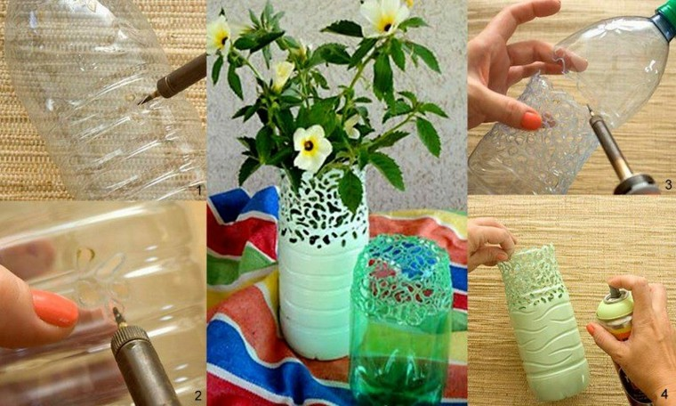 plastic bottles made vases flowers