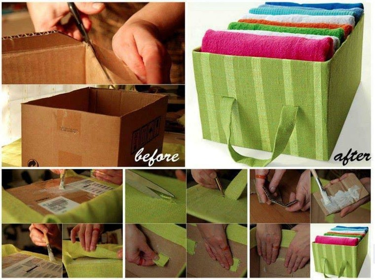 cardboard box lined green fabric
