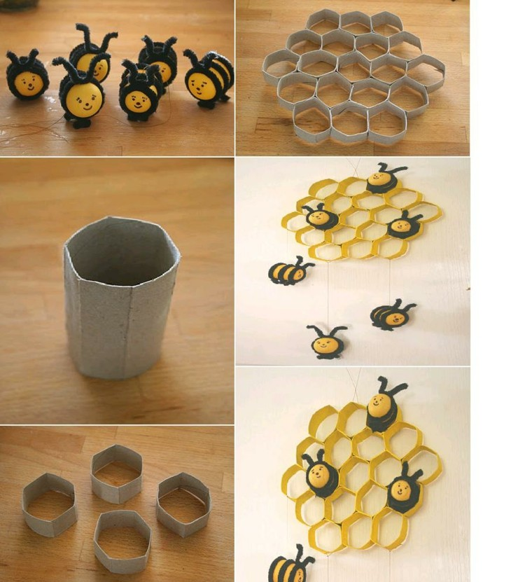 original design honeycomb cardboard bees