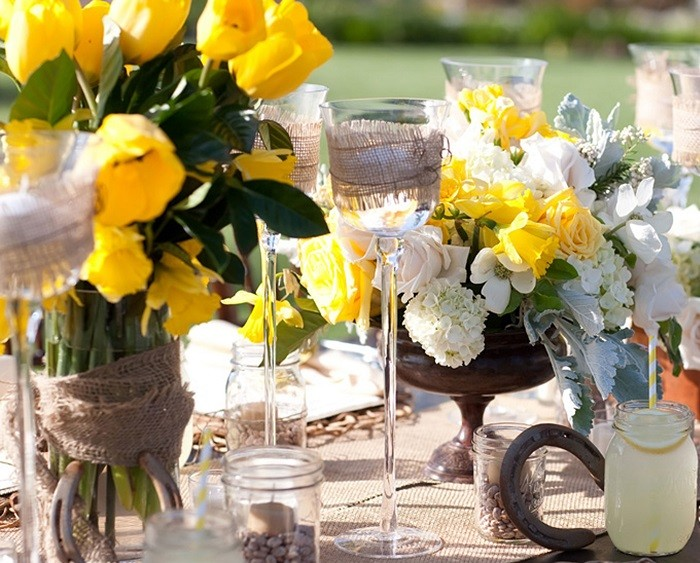 centerpieces table weddings precious yellow ideas