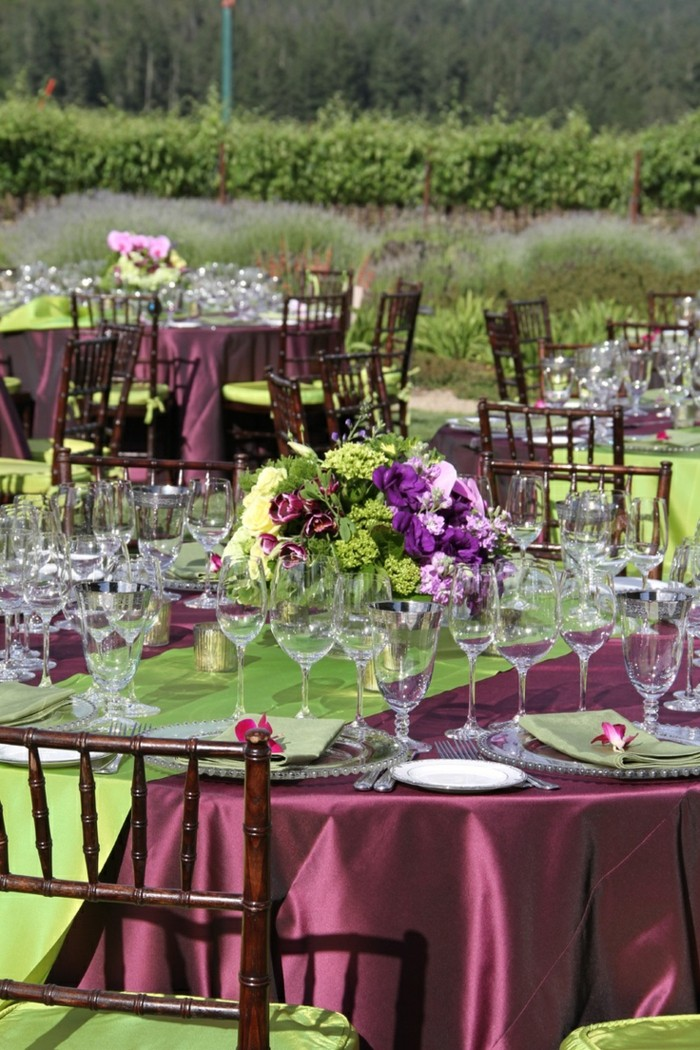wedding color tablecloth purple green center table ideas