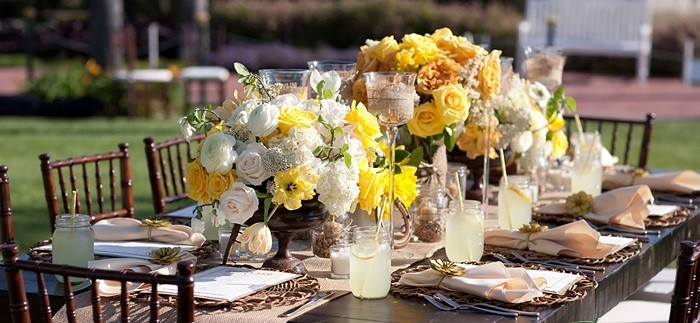 centers table weddings lovely style rustic white yellow ideas