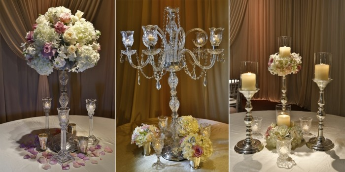 centerpieces for weddings crystals candles ideas