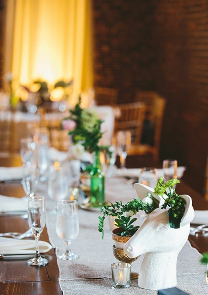 pretty center table wedding deer ideas
