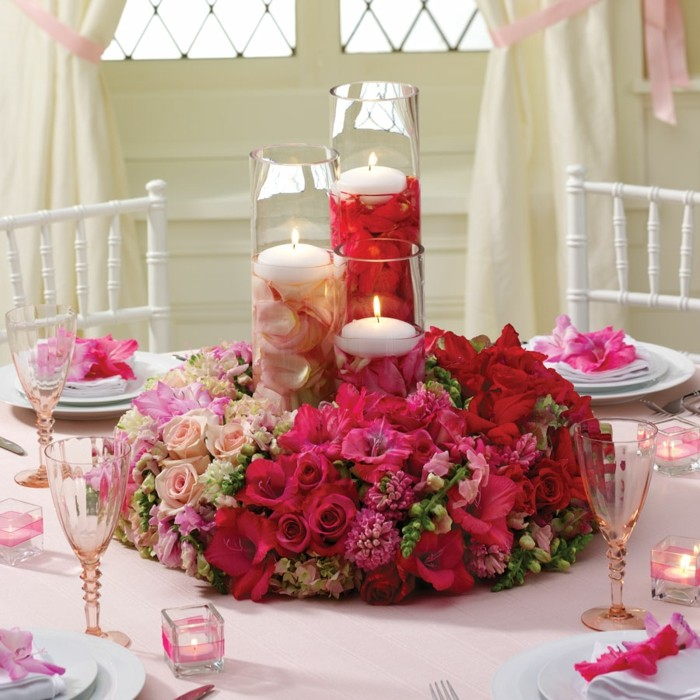 centers table weddings flowers candles ideas