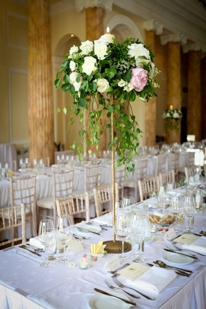 Wedding centers flowers high table ideas