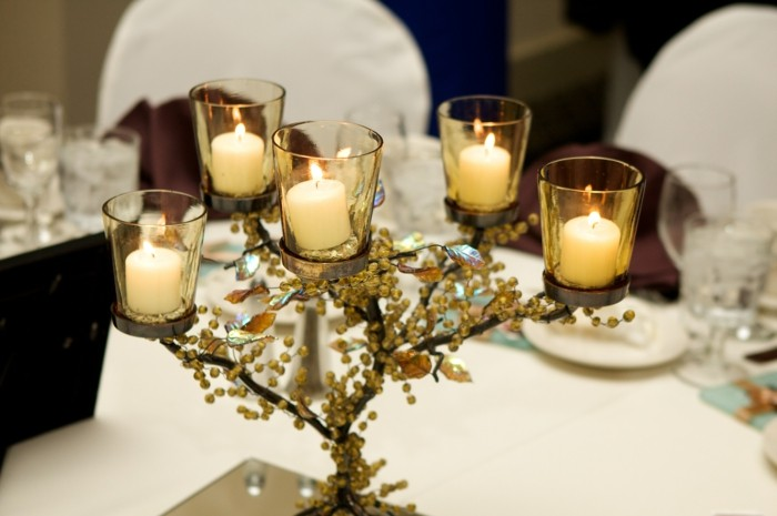 branches centers table wedding candles ideas