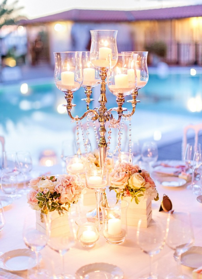 crystals flowers candelabra table wedding center ideas