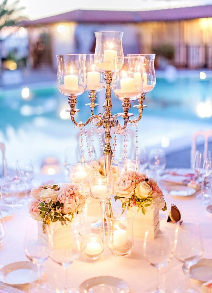 crystals flowers candelabra table wedding center ideas