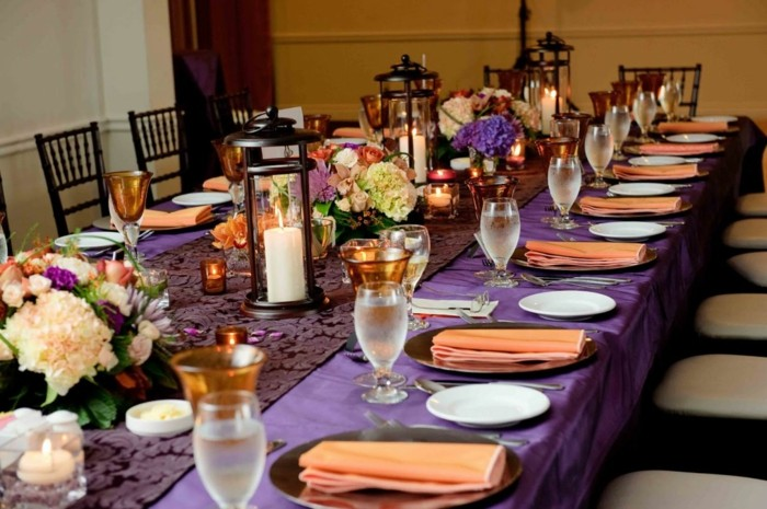 tablecloth purple wedding table center flowers ideas