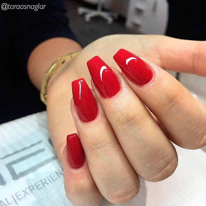 Vibrant Red Acrylic Nail Designs
