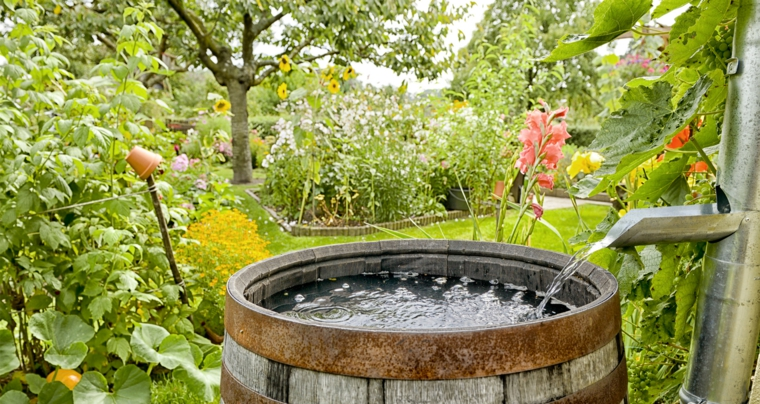 garden design barrel with water