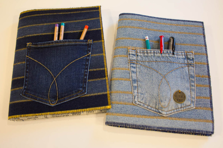 jeans decorated notebooks