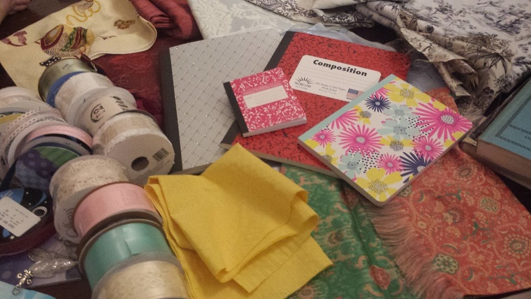 material decorated notebooks