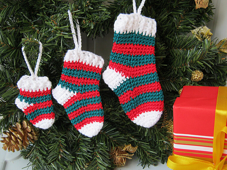 knitted christmas socks