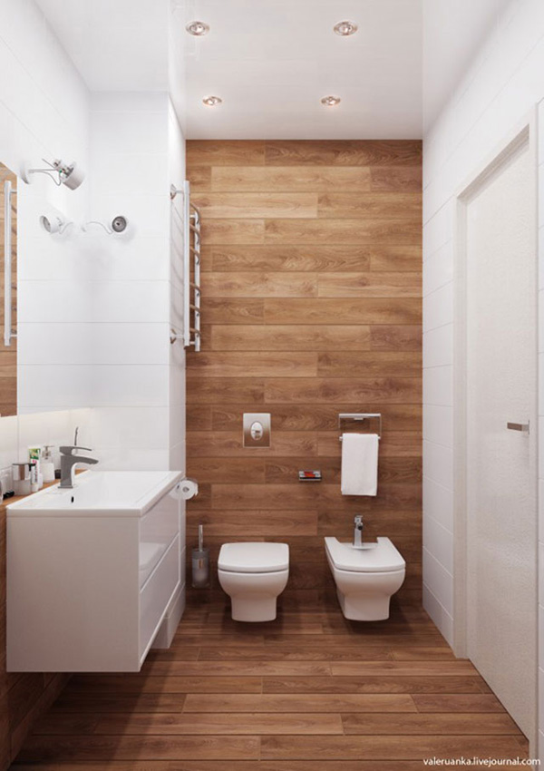 A small white and wooden bathroom
