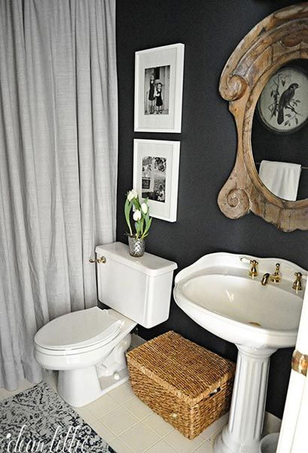 A small bathroom painted black