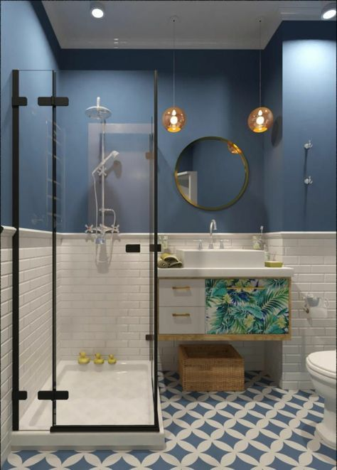Half-height tiled bathrooms