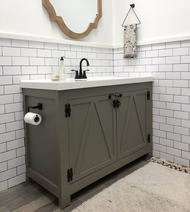 DIY bathroom vanity straight lines
