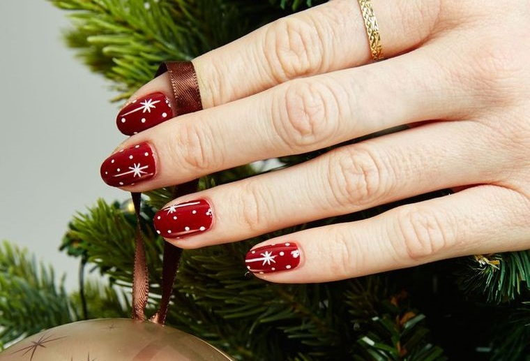 Red Christmas Nail Designs with Stars