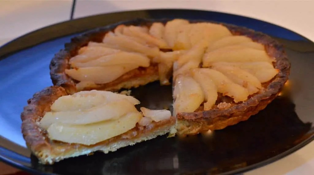 Champagne Poached Pear Tart