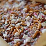 candy cane and pretzel fudge