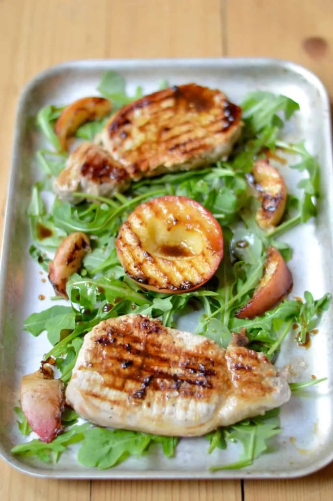 grilled pork chops with peaches