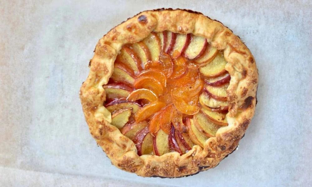 peach and apricot galette