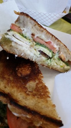 Newbo Market, Cedar Rapids, IA - Grilled Cheese with fontina, chicken, pesto, and tomatoes