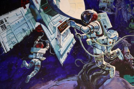 """""""Spaceship Earth Mural"""" by Sam Howzit is licensed under CC BY"""