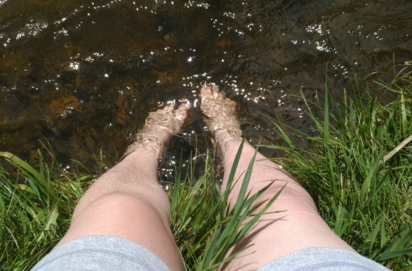 My feet in the water. It was COLD.