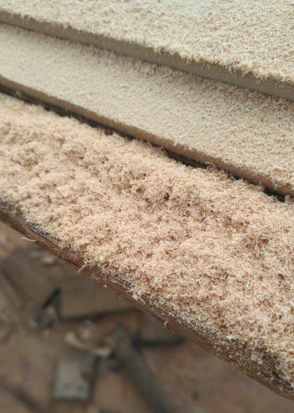 There's a little bit of wood visible under the sawdust, but basically this picture is a lot of sawdust.